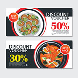 Discount voucher french food template design. Set of escargot, b