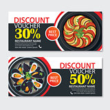 Discount voucher french food template design. Set of ratatouille