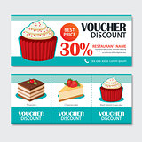 Discount voucher set of dessert template design. Set of cupcake,
