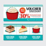 Discount voucher set of dessert template design. Set of cupcake,