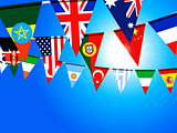 World bunting flags over sunny sky