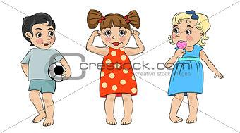 Three cartoon children