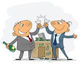 Two businessmen celebrate deal