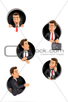 3d businessman coming through circular holes in wall
