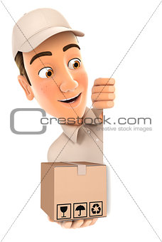 3d delivery man behind left wall and holding package