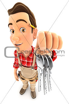 3d handyman holding a bunch of keys