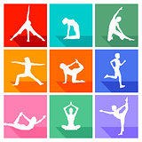 Gymnastics figures and fitness collection, isolated