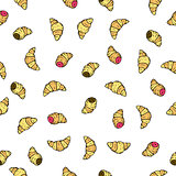 Seamless vector pattern with doodle hand drawn croissants donuts. Color illustration of cute desserts.