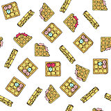 Seamless vector pattern with doodle sweet waffles.