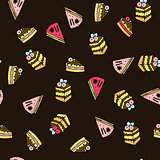 Seamless vector pattern with doodle sweet cakes.