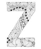 Letter Z for coloring. Vector decorative zentangle object