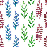 Seamless hand painted green herb pattern.