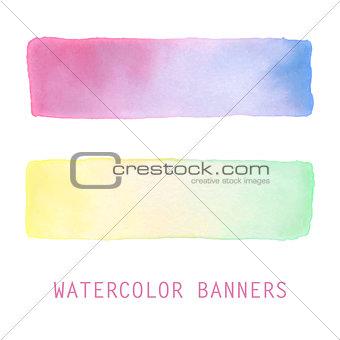 Watercolor gradient banners set.