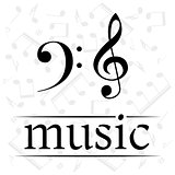 Music poster with treble and bass clef