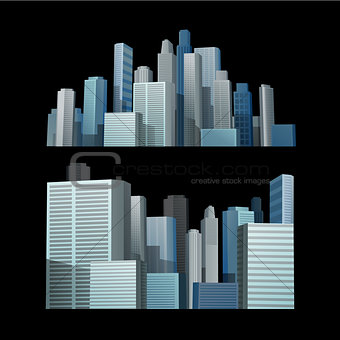 Blue building city in front of black background