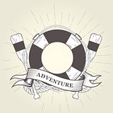 Life buoy, oars and rope - nautical emblem