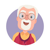 Avatar of happy old man grandfather in glasses