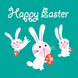 Vector Easter greeting card with funny hares