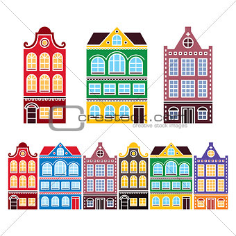 Amsterdam houses, Dutch buildings, Holland or Netherlands archictecture icons