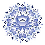Folk art floral pattern, Russian design inspired by Gzhel ceramics style