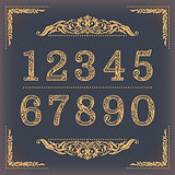 Vintage stylized numbers with floral elements