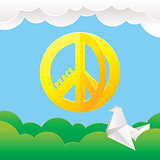 Hippie peace symbol with nature background