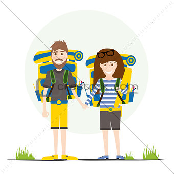 Tourists with Backpacks Isolated on White.