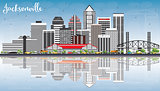 Jacksonville Skyline with Gray Buildings, Blue Sky and Reflectio