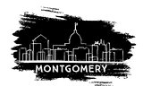 Montgomery Skyline Silhouette. Hand Drawn Sketch.