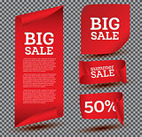 Big Sale Banner Set on Transparent Background.