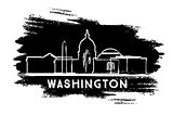 Washington DC Skyline Silhouette. Hand Drawn Sketch.