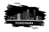Yokohama Skyline Silhouette. Hand Drawn Sketch.