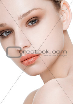 Beauty fashion model with natural makeup skin care
