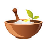 Clay in cup for Spa vector icon for web. Bowl for cosmetics. Natural Pharmacy symbo. natural cosmetic icon
