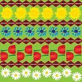 Dandelion cornflower and tulip seamless abstract pattern
