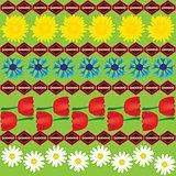 Dandelion cornflower and tulip seamless abstract pattern