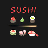 Vector graphics of sushi