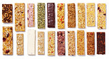 set of granola bars (muesli or cereal bar) isolated on white