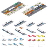 Bus stop and road architecture isometric icon set