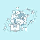 Social Media Blue Linear Illustration