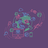 Social Media Colorful Linear Illustration