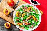peaches, arugula, prosciutto, goat cheese, salad with balsamic v