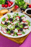 parsley, blackberry, radish, goat cheese ,close-up