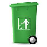 Green Plastic Trashcan
