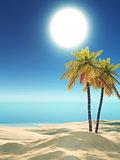 3D palm trees on tropical beach