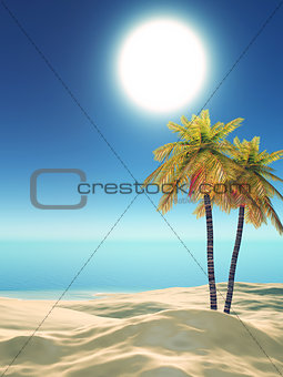 3D palm trees on tropical beach