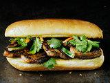rustic vietnamese bahn mi pork sandwich