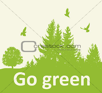 Green background with firs