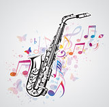 Music notes and saxophone