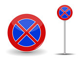 Prohibiting parking. Red and Blue Road Sign. Vector Illustration
